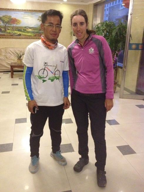 Pengjieji et moi après ma journée de 175km!