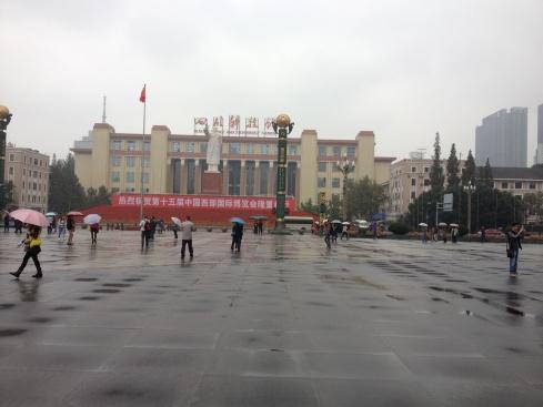 Tianfu square avec la statue de Mao